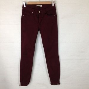 Zara Slim Fit Skinny Ankle Zip Maroon Crop Pants